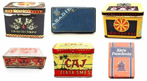 starožitné plechové krabičky káva čaj